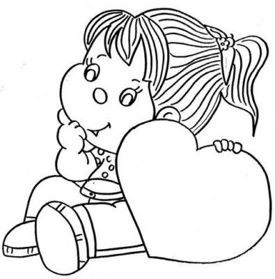 imagenes de una muñeca para colorear corazon