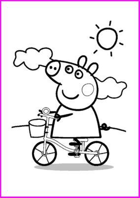 Dibujos Para Imprimir De Peppa Pig bicicleta