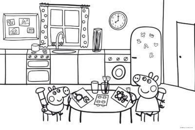 Dibujos Para Imprimir De Peppa Pig cocina