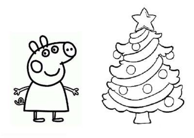 pepa la cerdita para colorear navidad