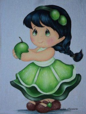dibujo-muneca-tierna-con-una-manzana
