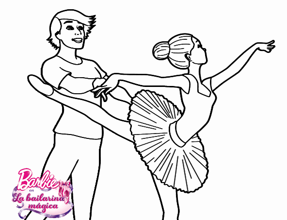 barbie bailarina colorear