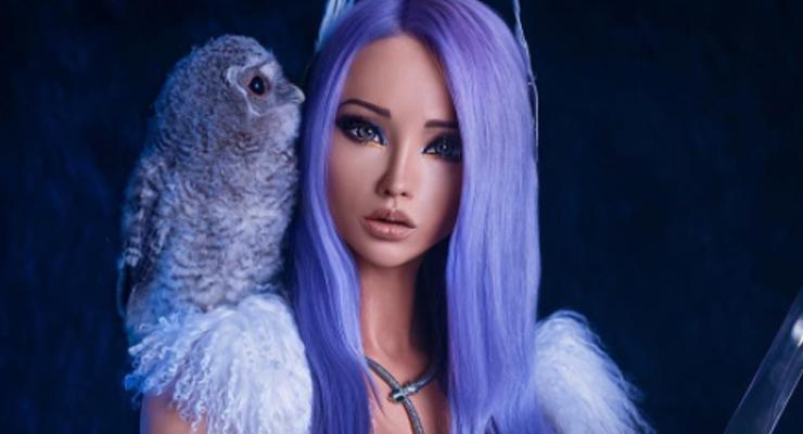 barbie humana cabello morado