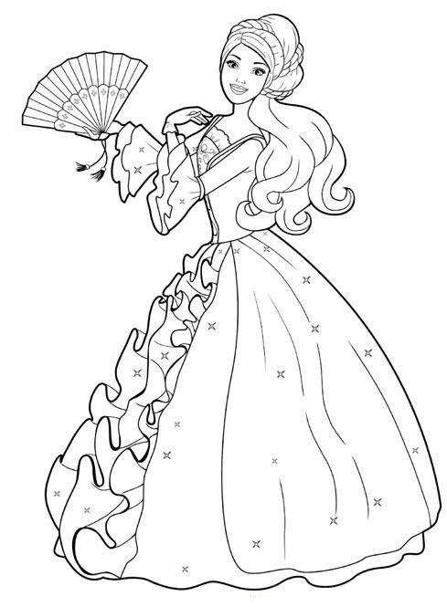 barbie princesa para colorear