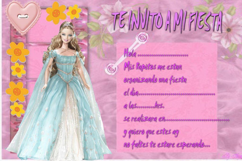 invitaciones de cumpleaños barbie