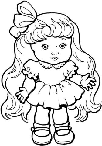 muñequita tierna para colorear