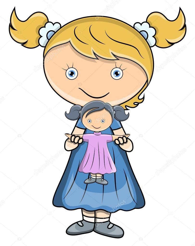 niña jugando con muñeca animada